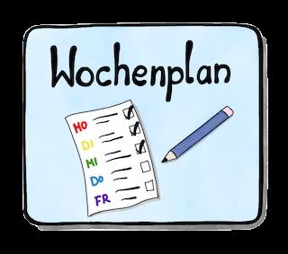 Wochenplan der Stufe: Eule, Waschbär, Saurier